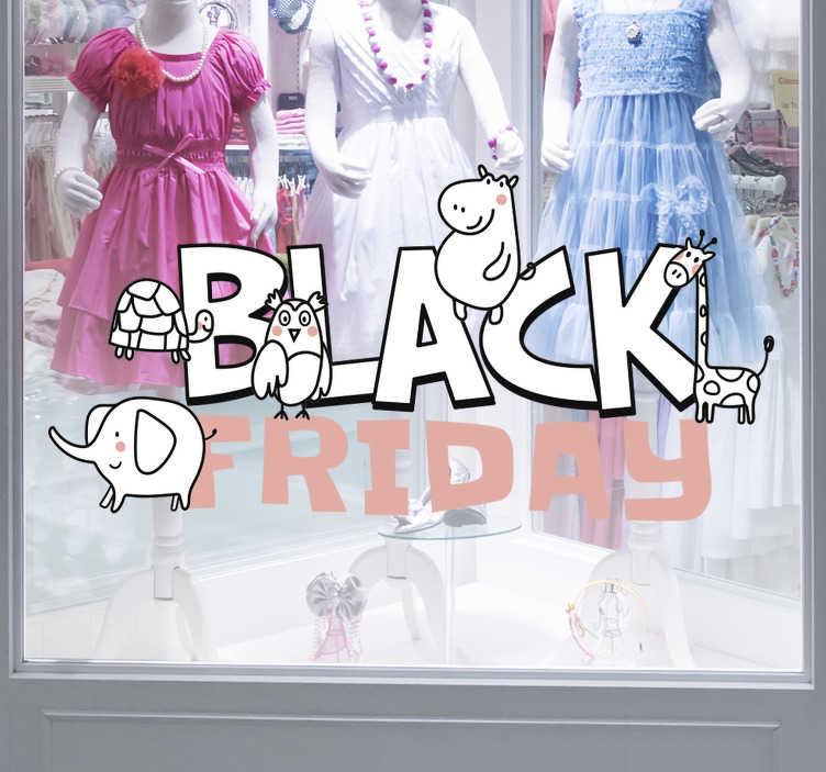 TenStickers. Black Friday children's shop window sticker. Let the high street know about your sales! This retail sticker is perfect for your shop window, attacting both little and big customers. Easy to apply