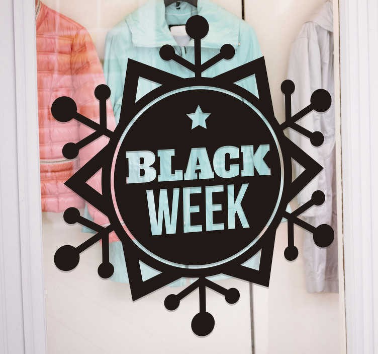 TenStickers. Snow flake black week sale window sticker. Want to let everyone know about your sales? Say it with this promotional window sticker! Available in a variety of sizes and colours. Easy to apply.