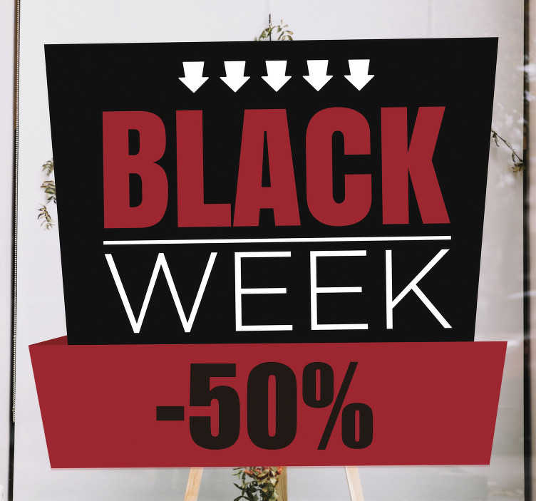TenStickers. black week sale window sale sticker. We all love a sale! Let your customers know that you've cut your prices with this retail sticker. Available in a variety of  sizes. Easy to apply.