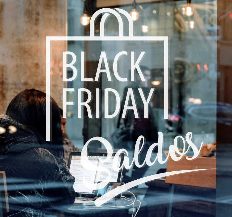 TenStickers. Autocolantes Promoções Black Friday Saco Saldos. Fantástico vinil autocolante para montras saco de compras com as palavras 'Black Friday' e 'Saldos', ideal para  anunciar as suas promoções!
