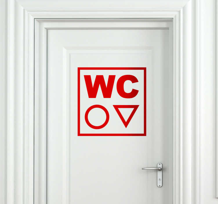 TenStickers. WC Toilet Sticker. Bathroom Stickers - WC toilet sign to place on the door of the toilet representing both sexes. Cool minimalist design shows just two shapes to represent which bathroom is which. Monochrome design available in various sizes and 50 different colours.