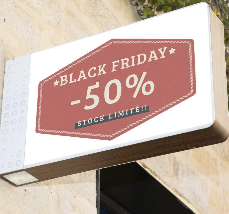 TenStickers. Vitrophanie black friday stock limité. Stickers muraux black Friday personnalisé avec remise que vous choisissez! Envoi Express 24/48h. Choissisez le sticker parfait pour vous maintenant!