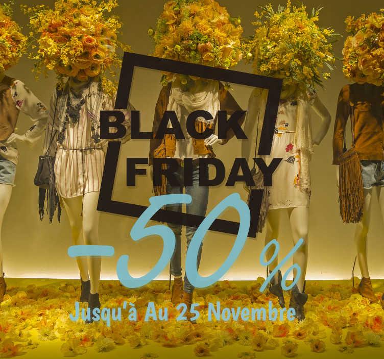 TenStickers. Vitrophanie  jusqu'a black friday. Stickers vitre black Friday pour votre vitrine d'entreprise! Faites savoir aux clients ce novembre avec notre autocollant dynamique!