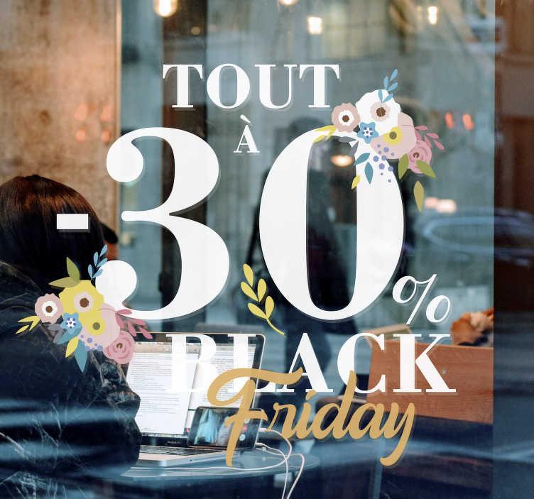 TenStickers. Vitrophanie black friday remise. Stickers vitre black Friday personnalisables pour le vendredi le plus rentable de votre vie! Application Facile. Achetez maintenant!