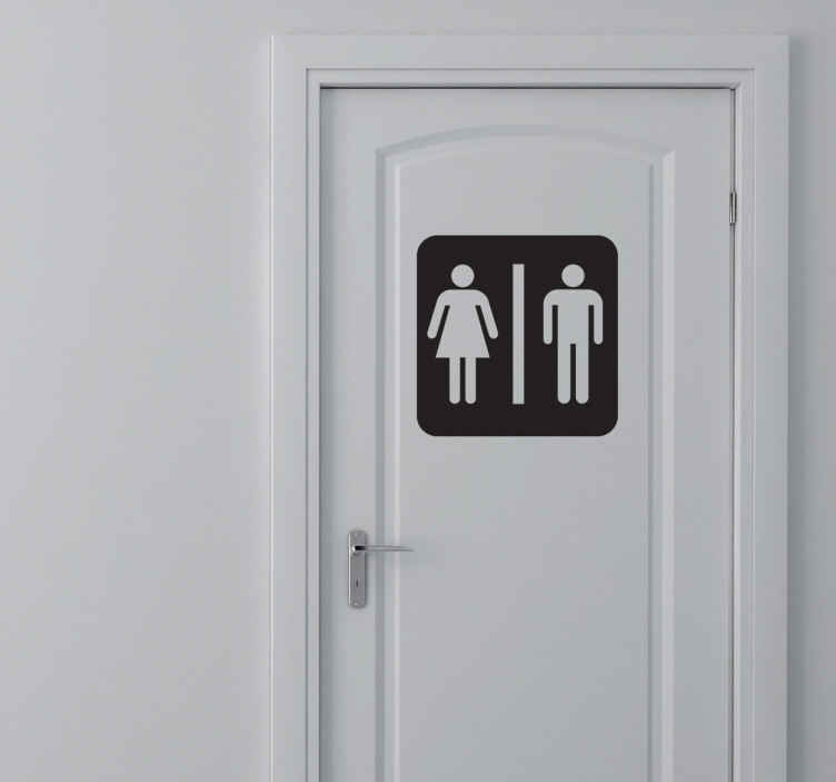 """TenStickers. Sticker symbole WC bicolore. Le classique sticker """"homme-femme"""" à afficher sur la porte de vos toilettes."""