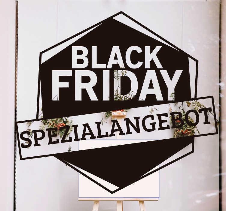 """TenStickers. Black Friday Spezialangebot Fenster Aufkleber. Kaufen sie unser einfach aufzutragendes shop-front-Aufkleber für black friday-verkäufe auf geometrischem hintergrund mit dem text """"black friday-sonderangebot""""."""