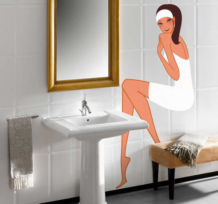 TenVinilo. Vinilo decorativo chica con toalla. Adhesivo de una joven de espaldas, cubierta con una toalla y con mirada pícara, recién salida de una ducha o de la sauna. Decora tu baño con este colorido vinilo.