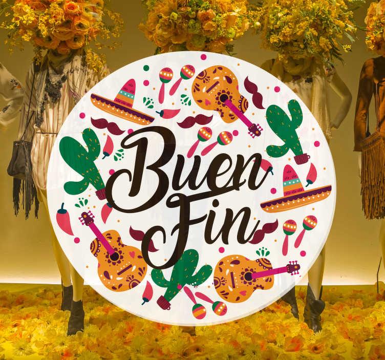 """TenVinilo. Pegatina rebajas Buen Fin. Vinilo para escaparate formado por el texto """"Buen Fin"""" acompañado de diferentes elementos mexicanos. Descuentos para nuevos usuarios."""