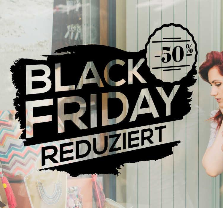 TenStickers. Rabatt Aufkleber Black Friday. Der optimale schwarze Black Friday Aufkleber für Ihr Schaufenster, personalisierbar! Er ist hochwertig und in verschiedenen Größen erhätlich.