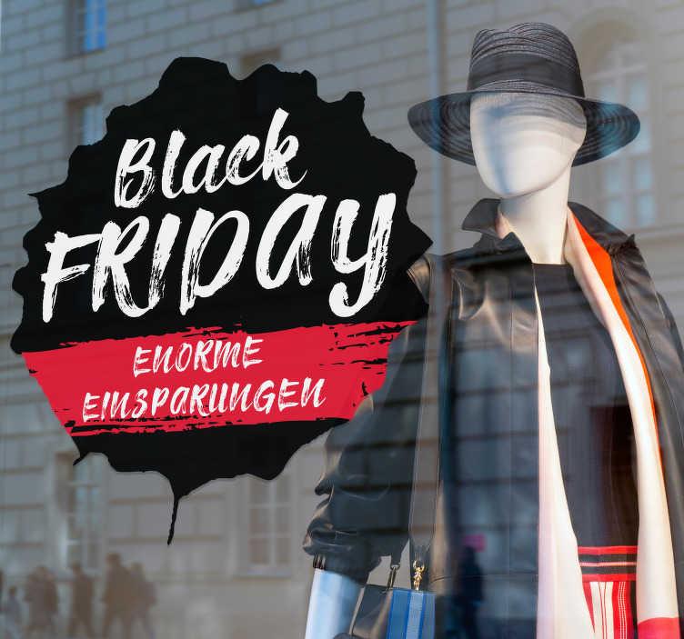 TenStickers. Schaufenster Aufkleber Black Friday Enorme Einsparungen. Dieser originelle Schaufenster Aufkleber ist optimal für  Black Friday  um Ihre Kunden auf Rabatte in Ihrem Laden hinzuweisen, die Größe ist variabel.