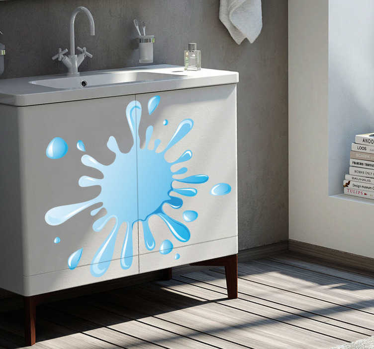 TenStickers. Naklejka do łazienki kropla wody. Naklejka dekoracyjna przedstawiająca rozsprykaną kroplę wody. Obrazek możesz zaaplikować na każdej, gładkiej powierzchni. Ciekawy pomysł na zmianę wyglądu łazienki.