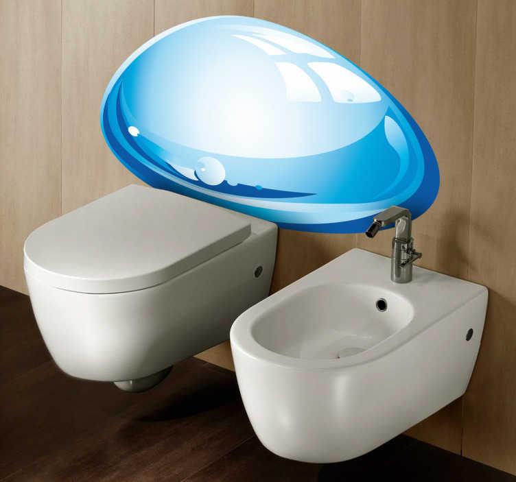 TenStickers. Naklejka spłaszczona kropla wody. Naklejka dekoracyjna, która przedstawia spłaszczona kroplę wody, która przybrała kształt elipsy. Idealna naklejka do ozdoby łazineki.