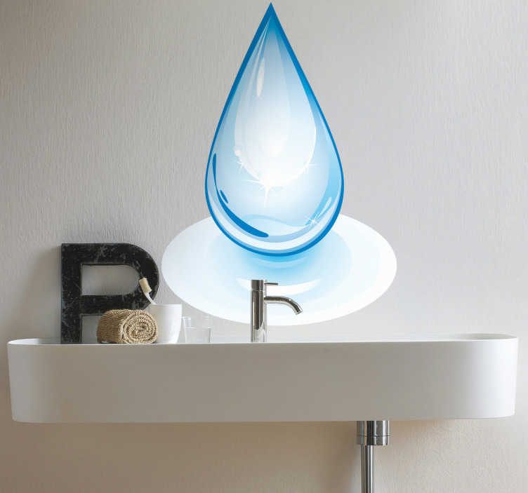 TenStickers. Drop of Water Decorative Sticker. Illustration of a pear shaped water droplet. This bathroom sticker is perfect for obtaining that zen atmosphere with a touch of originality. Decorate your walls, windows or mirrors with this blue water drop decal.