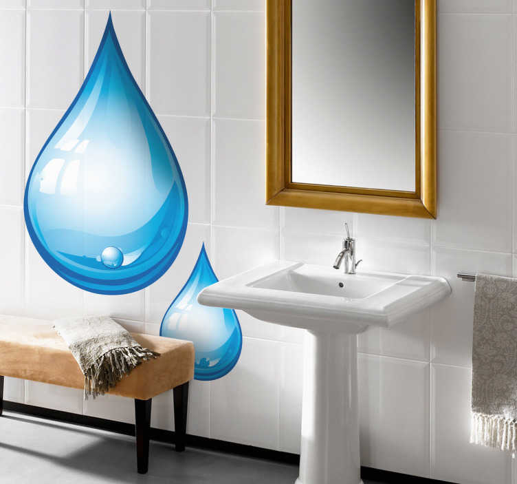 TenStickers. Drop of Water Wall Sticker. A fantastic design of two water droplets. A great bathroom decal to make sure your bathroom doesn't look empty and dull.