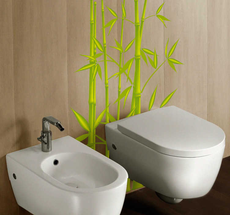 TENSTICKERS. 竹の葉の壁ステッカー. 浴室のステッカー - 竹の葉は便器のステッカーとして。適用しやすい装飾的なビニールステッカー。