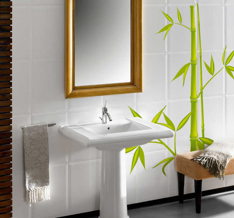 TenStickers. Bamboo Tree Bathroom Sticker. Bamboo leaves wall sticker - Perfect as a kitchen or bathroom sticker to create a relaxing, fresh and exotic atmosphere. Free delivery over £45.