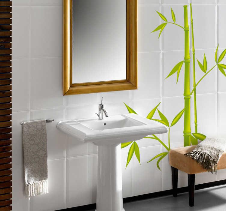 Sticker badkamer bamboe kleur tenstickers - Goedkope badkamer decoratie ...