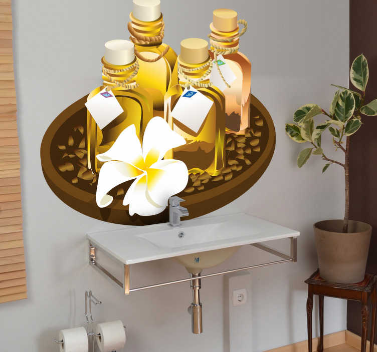 TenVinilo. Vinilo decorativo kit productos baño. Dibujo realista de un bol de madera con una flor exótica y diferentes frascos de fragancias, jabones y sales de baño.