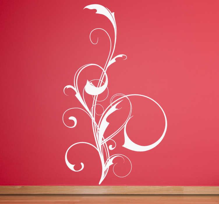 TenStickers. Sticker decorativo linea floreale stilizzata. Wall sticker decorativo che raffigura una composizione floreale stilizzata e molto elegante.