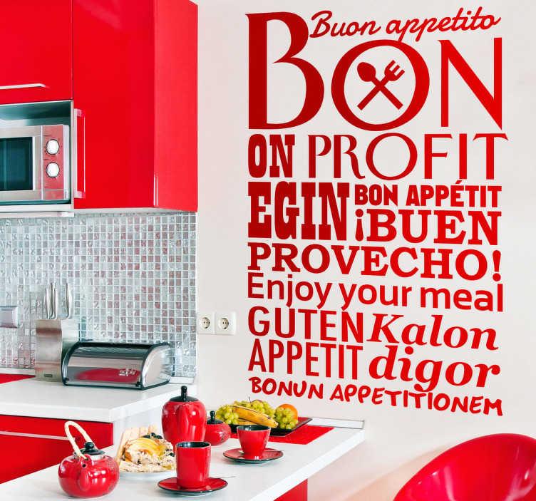 TenStickers. Eet Smakelijk in Verschillende Talen. Decoreer de keuken met deze muursticker met de tekst eet smakelijk in verschillende talen. Kleur en afmetingen aanpasbaar. 10% korting bij inschrijving.