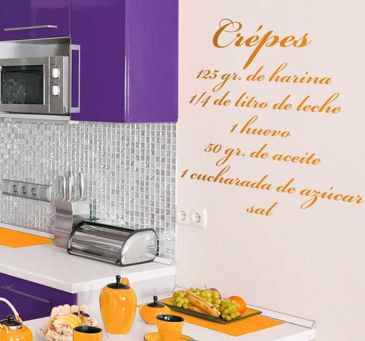 TenVinilo. Vinilo decorativo receta crepes. Si te gustan los dulces y te gusta cocina decora tu casa con todo lo necesario para hacer unos deliciosos crépes: harina, leche, huevos, aceite, azúcar y sal.