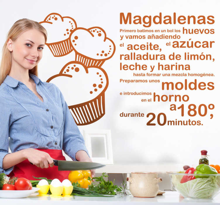 TenVinilo. Vinilo decorativo receta magdalenas. Adhesivo para tu cocina de doble uso: decorativo y práctico. Consulta todos los ingredientes necesarios para realizar un sabroso bizcocho.