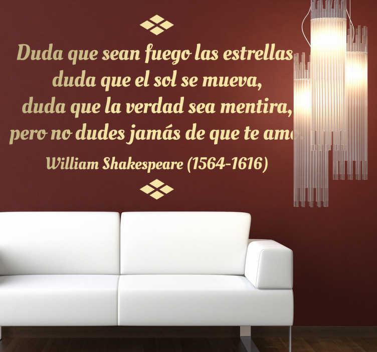 TenVinilo. Vinilo decorativo texto Shakespeare. Adhesivo con unos lindos textos del dramaturgo inglés más famoso de todos los tiempos. Una romántica declaración de amor ideal para tu comedor.