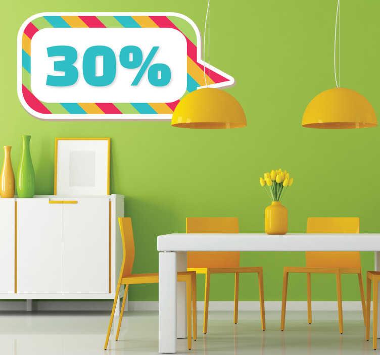 TenStickers. Sticker personnalisable cadre rayé. Inscrivez vos offres et promotions sur ce sticker multicolore en forme de bulle rectangulaire. Indiquez votre texte personnalisé en observations.
