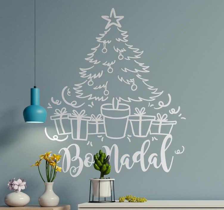 """TenVinilo. Vinilo de Navidad árbol en gallego. Pegatina formada por el diseño de un árbol de Navidad acompañado del texto en gallego """"Bo Nadal"""". Descuentos para nuevos usuarios."""