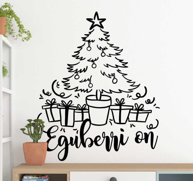 """TenVinilo. Vinilo de Navidad árbol Navidad en vasco. Pegatina adhesiva para pared formada por el diseño de un árbol de navidad acompañada del texto en vasco """"Eguberri On"""". Envío Express en 24/48h."""