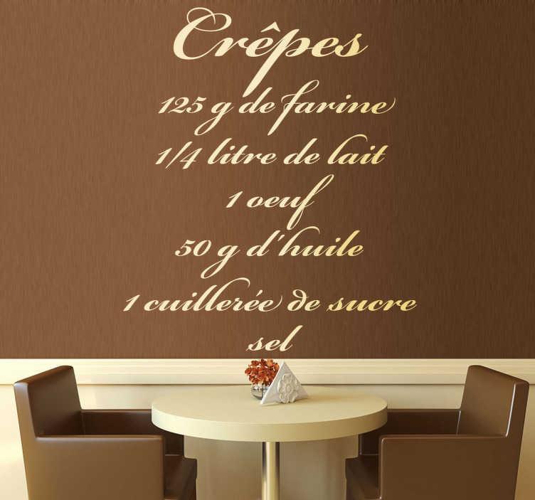TenStickers. Sticker decorativo ricetta crepes fra. Adesivo murale che riporta la ricetta delle crepes in lingua francese. Una decorazione elegante per la cucina.