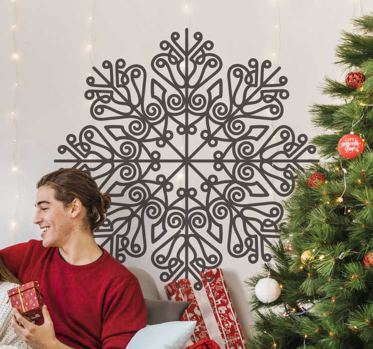 TenStickers. Mandala flake christmas wall decal. Wall decal of a Christmas mandala to decorate the home space .. A design on a round style with ornamental mandala .. Easy to apply on flat surface.