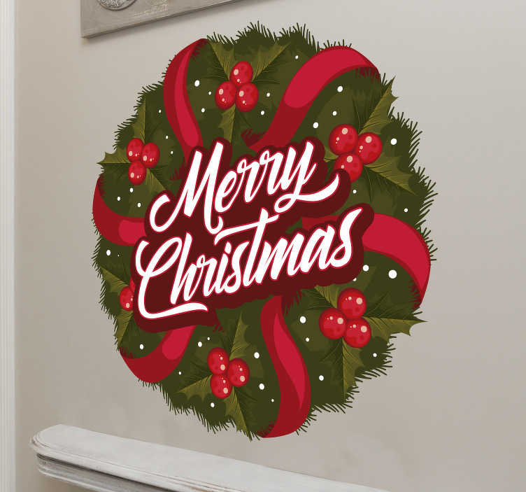 TenStickers. Merry Christmas wreath wall decal. Decorative wall decal for Christmas design of a Christmas wreath on round background with styled ribbons , light bulbs  and text..'' Merry Christmas''