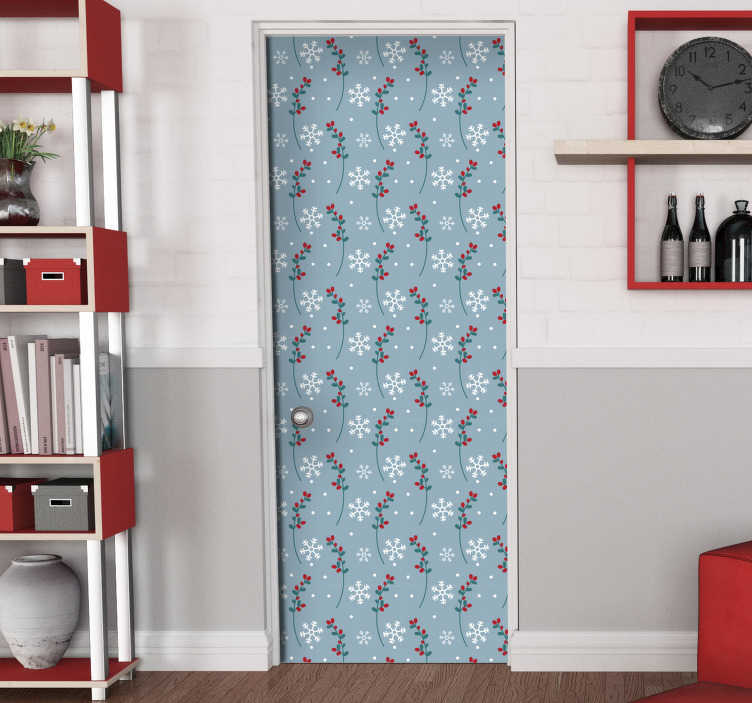 TenStickers. Christmas door snowflakes christmas wall decal. Christmas door vinyl decal with the features of snow flakes, flower ornaments in multi colour on a blues background in vertical style.