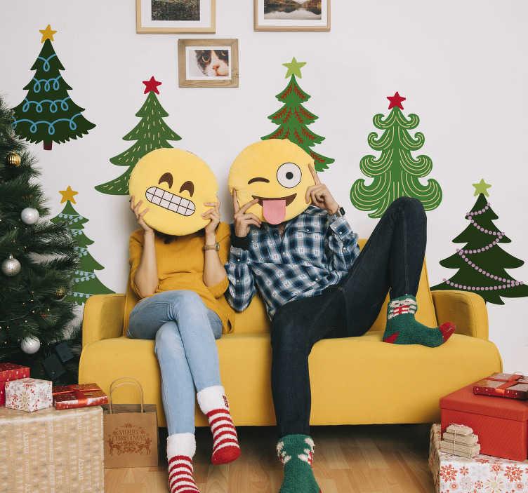 TenVinilo. Pegatinas de navidad Set arboles coloridos. Pack formado por seis vinilos con el diseño de árboles de navidad con diferentes formas y decoraciones. Envío Express en 24/48h.