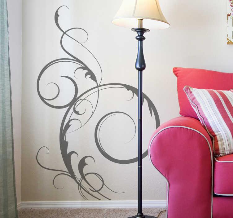 TenStickers. Adesivo ornamental floral. Adesivo ornamental incrível com um design floral para a sua casa. Decore a casa com este autocolante ornamental floral autêntico.