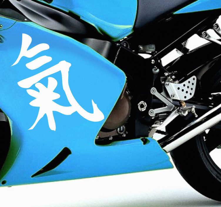 Tenstickers. Energi klistremerke på kinesisk. Klistremerke av kinesisk skriving som betyr energi, ideelt for tuning av biler og motorsykler. Et kinesisk tegnesymbolsklistre med historie og symbolikk, fra vår orientalske klistremerkeinnsamling.