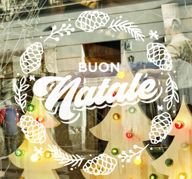 TenStickers. Adesivo Natale ghirlanda natalizia. Ammira questa fantastica vetrofania ghirlanda natalizia, un design geniale che attirerà clienti per la tua attività. Oltre 50 colori dispoinibili.