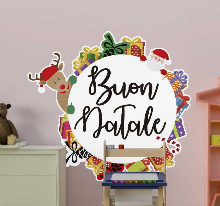 TenStickers. Adesivo ghirlanda buon Natale. Ammira questa fantastica vetrofania ghirlanda buon natale, un design geniale che attirerà clienti per la tua attività e renderà felici i familiari.