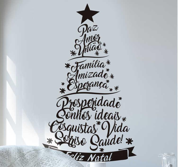 TenStickers. Autocolantes de Natal Árvore Palavras de Esperança. Prepare a sua casa para o Natal com este magnífico autocolante decorativo de Natal de um pinheiro natalício formado por palavras de paz e esperança!