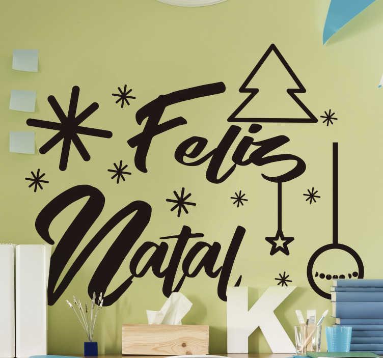 """TenStickers. Autocolantes decorativos de Natal Desejos Natalícios. Sublime autocolante decorativo de Natal onde a frase """"Feliz Natal"""" se faz acompanhar de outros adornos típicos desta época!"""