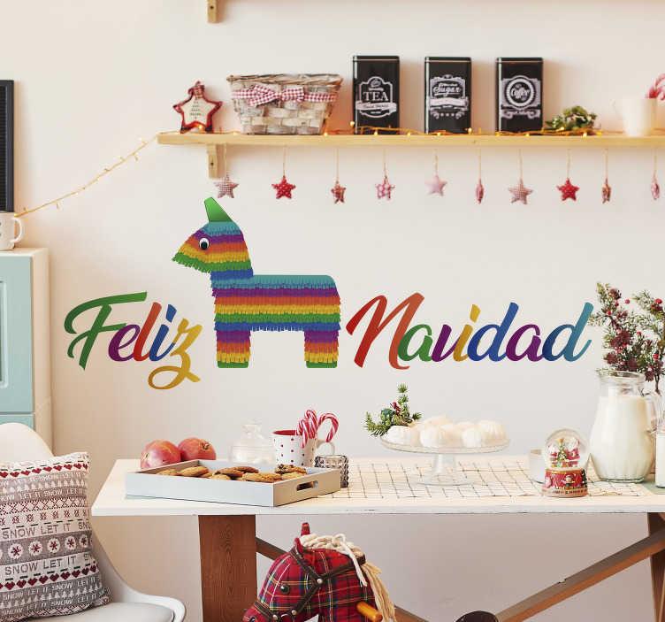 """TenVinilo. Vinilo de Navidad Piñata Feliz Navidad. Pegatina adhesiva formada por el texto """"Feliz Navidad"""" en diferentes colores y acompañada del diseño de una piñata. +50 Colores Disponibles."""
