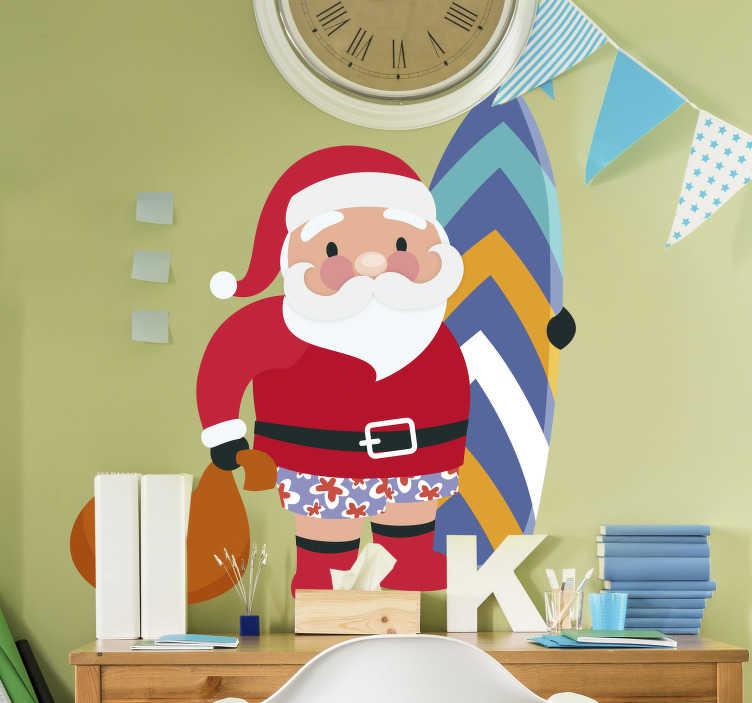 TenVinilo. Vinilo de Navidad papa noel. Pegatina formada por el diseño de Papá Noel vestido con un bañador de flores y sujetando una tabla de surf. Vinilos Personalizados a medida.