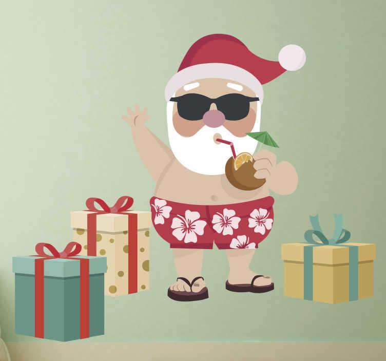 TenStickers. Autocolante de natal Pai Natal cool. Compre este nosso autocolante decorativo de Natal com uma divertida ilustração de um Pai Natal de calções de banho, óculos de sol e a beber água de côco.