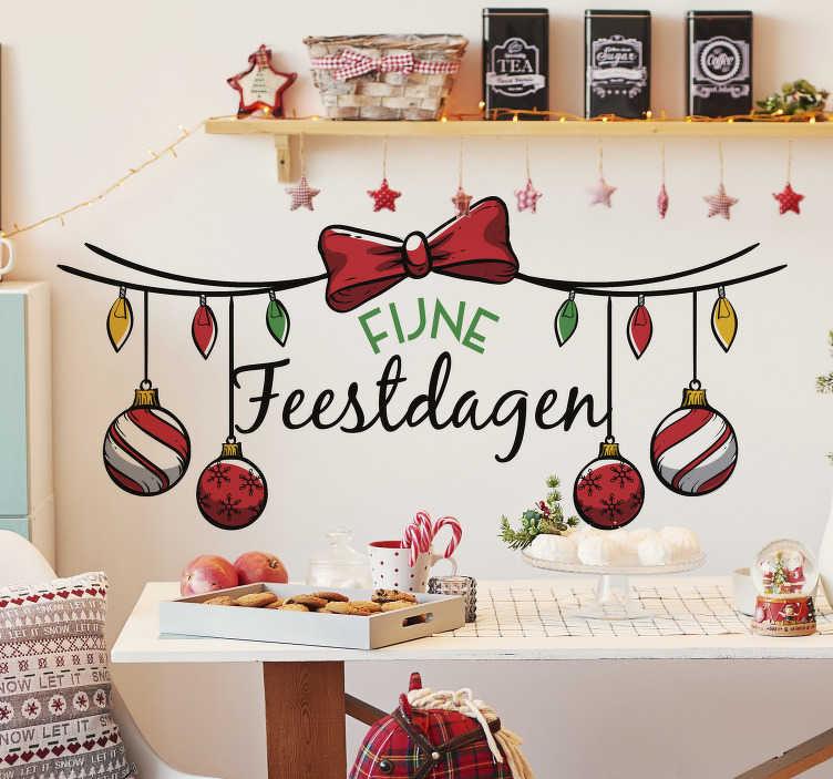 TenStickers. Kerststickers fijne feestdagen. Geweldige kerst raamsticker om je huis mee te decoreren in de gezelligste periode van het jaarwaar je met je gezin van kan genieten.