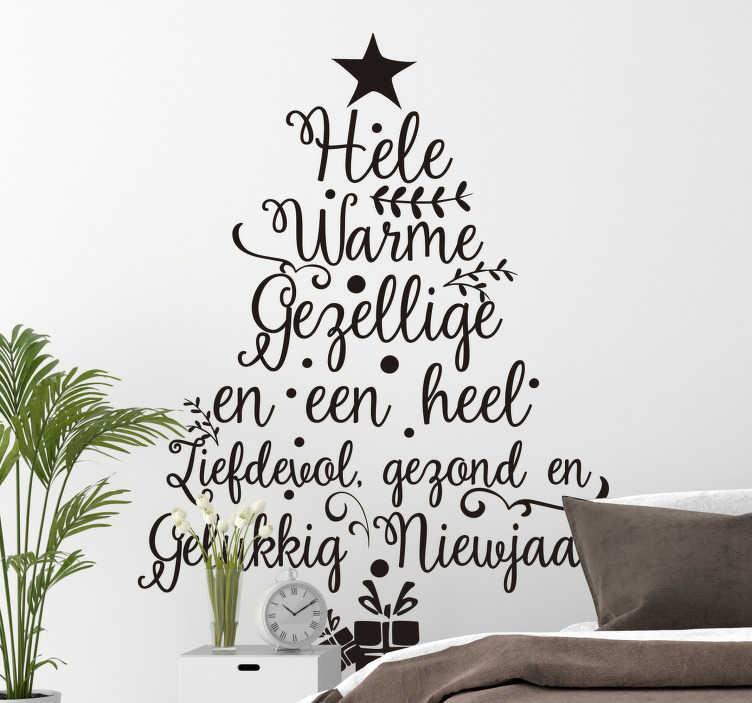TenStickers. Kerststickers boom met tekst nieuwjaar. Een geweldige kerst raamstickers die je voor het nieuwe jaar moet bevestigen in huis om zo de sfeer volledig op te fleuren voor het nieuwe jaar.