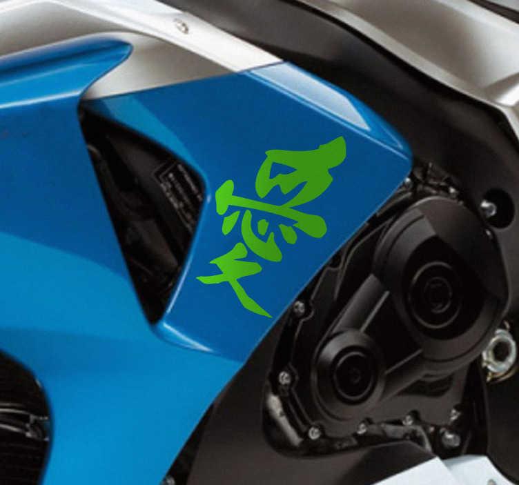 TenStickers. Motorrad Aufkleber chinesisch Frieden. Dekorativer Aufkleber: Gestalten Sie Ihr Motorrad mit diesem Sticker des chinesischen Zeichens für Frieden