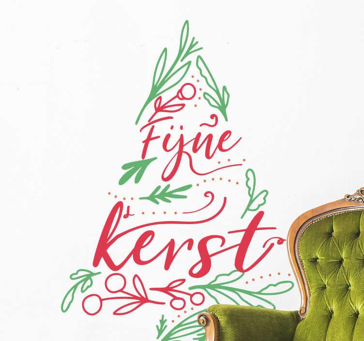 TenStickers. Kerststickers boom in groen en rood. Mooie kerstboom raamsticker voor iedereen om zo dekerstsfeer te versterken in de gezelligste periode van het jaar, gemaakt van sterke kwaliteit.