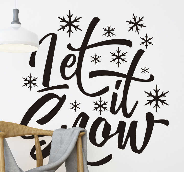 TenStickers. Let it snow christmas wall decal. Easy to apply decorative Christmas wall decal with text '' let it snow'' in lovely styled font and spacial features on it..