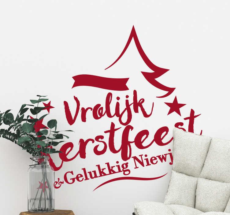 TenStickers. Kerststickers tekst feestdagen eigen kleur. Een mooie kerststicker voor bedrijven om op de ramen te bevestigen. Deze decoratie bestaat uit de tekst ´vrolijk kerstfeest & een gelukkig nieuwjaar´.